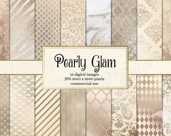 Pearly Glam Digital Paper, ivory pearl textures, metallic glitter printable scrapbook paper, white gold marble texture, beige patterns