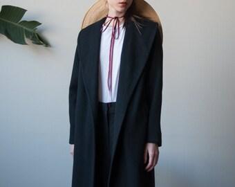 chic black wool coat / minimalist black coat / simple black coat / s / m / 2432o / R3