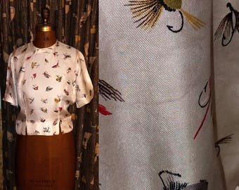 Vintage 60's Fishing Novelty 60's Lures Top Satin Fitted Waist Button Back Womens Blouse - S