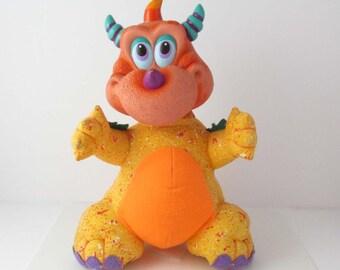 Russ WuggaWuff Orange Dragon Toy Plush Doll Happi Glumps 10 Inches