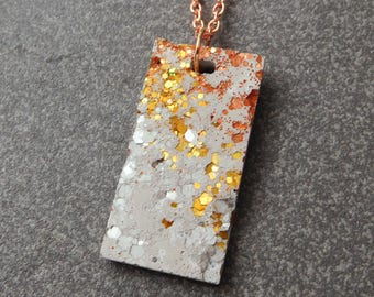 Mixed metal rose gold concrete necklace / rose gold necklace, unusual jewelry, concrete, concrete jewelry, concrete necklace, cement, beton
