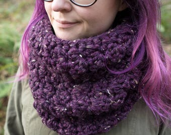 Oversized Chunky Cowl || The Cascade (Purple Tweed)