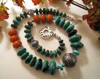 Turquoise Rondelle Necklace With Amber Copal Rondelles - Sterling Decorative Clasp - Silver Center Carved Bead - Statement Piece - #998