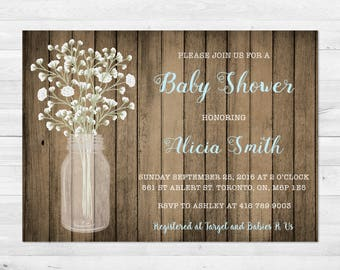 Baby Shower Invitation Boy, Baby's Breath, Rustic Baby Shower Invitation, Wood, White And Blue, Printable, Printed