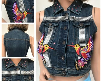 Maggie Barry Sample Sale item.Festival, up-cycled denim vest. cute bird Appliques. SMALL
