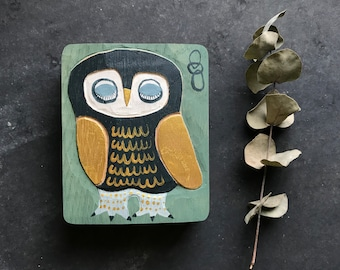OWL in BLUE GOLD, bird in oak nature