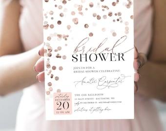 Rose Gold Confetti Bridal Shower Invitation - Brunch with the Bride - Blush Floral - Faux Rose Gold Foil Effect - Blush Invitation Printable