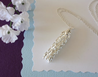 Silver Pine Tip Necklace, Sterling Silver, Real Pine Tip, Silver Pine Cones, Long Layered Sterling Silver Necklace, PC10