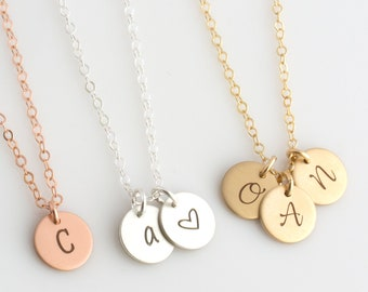 Gold Initial Necklace, Dainty Disc Necklace, Small Letter Necklace, Engraved Necklace, Gold, Silver, Bridesmaid Gift, Mother's Day Gift