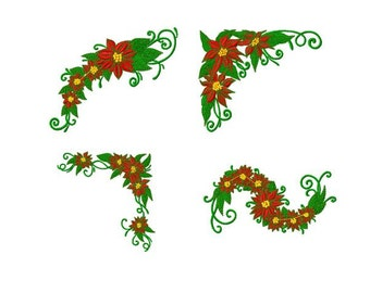 10 Designs,  Poinsettia Christmas Flower Machine Embroidery Design Pack, PES Format
