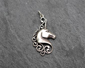 Unicorn Pendant, Sterling Silver, Unicorn Charm, Fantasy Pendant, Silver Unicorn, Unicorn Necklace, Necklace Component, Magical, 925
