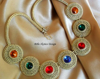 Bead Embroidery  Necklace - Bead Embroidery Collar- Silver Necklake- Handmade