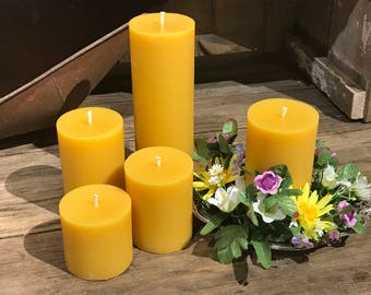 """3"""" Pillar Beeswax Candle - Beeswax Pillar Candle  Pure Beeswax from Beekeepers Hives"""