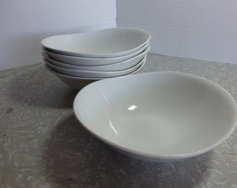 White Ironstone Johnson Bros Cereal Bowl Pair Oval Coupe Shape