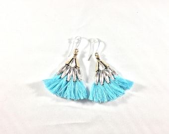 Rhinestone Earrings / Boho Earrings / Tassel Earrings / Blue Earrings / Blue Tassel Earrings