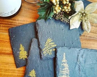 The Trees Slate Coasters (Set of 4)  Christmas, Holiday, Secret Santa, Nature, Hiking