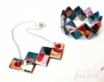 Set geometric origami paper laminated Rugged bracelet and necklace set