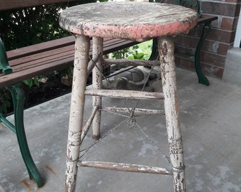 Vintage 1920's - 30's White Round Wooden Kitchen Stool w/ Twisted Wire Reinforcing
