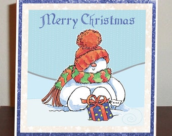 Christmas snowman with gift, Christmas card