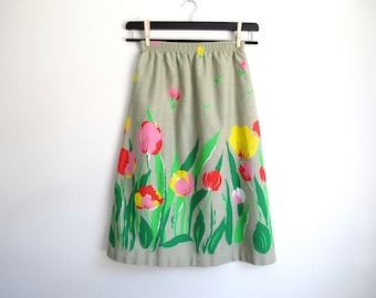 Floral A Line Skirt, Vintage Midi
