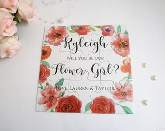 Personalized proposal card Will you be our Flower girl Proposal card Flower girl puzzle card Be my Bridesmaid invitation