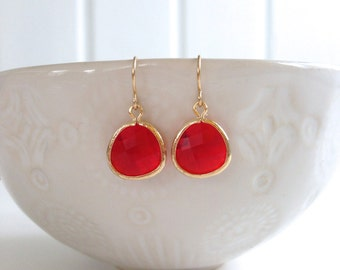 Red and Gold Faceted Gem Earrings | Bridesmaid Earrings | Wedding Jewelry