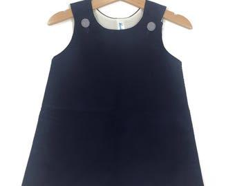 Corduroy Jumper Dress ~ Navy