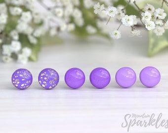 Violet stud earrings set, Set of 3 earrings, Purple earrings set, Gift for girlfriend, Simple Stud Earrings, Bridesmaid Gift, Trends 2018