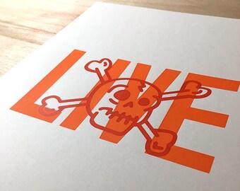 Live / Skull / Screen Print / A4 size /