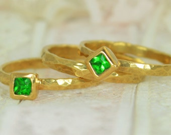 Square Emerald Engagement Ring, Gold Filled, Emerald Wedding Ring Set, Rustic Wedding Ring Set, May Birthstone, Gold Filled, Emerald Ring