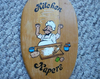 vintage wooden Kitchen Kapers wall hanging