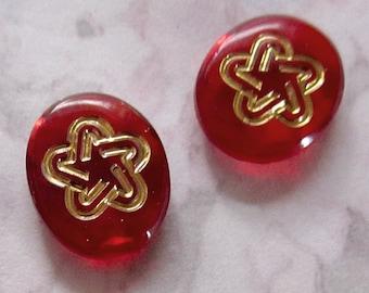 10 pcs. vintage glass red intaglio embossed gold star rhinestones 12x10mm - f3013
