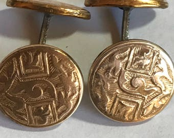 Vintage Celtic Design Cufflinks in Brass