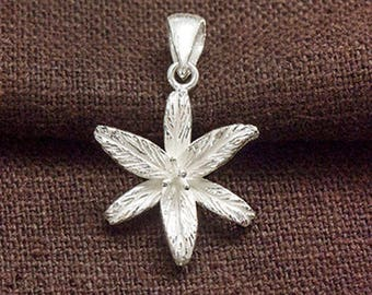1 of 925 Sterling Silver Lily Flower Pendant 16mm. Matte Finished  :th2629