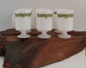 Vintage Spring Blossom Pattern Milk Glass Pedestal Pyrex Mugs , Pyrex Olive Green Flowers Milk Glass Set of 6 Mugs, Retro 1970's Coffee Mugs