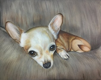 11x14 chihuahua gift custom pet portrait from photo hand painted dog painting on canvas art