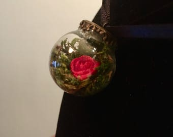 Enchanted Red Ribbon Rose- Fairytale Rose Glass Globe Pendant, Magic