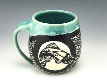 Sgraffito Trout Pottery Mug in Blue