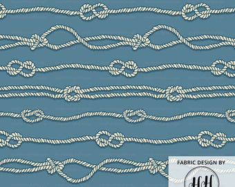 Nautical Sailor Knots Fabric By The Yard - Rope Knots Seafarer Maritime Pattern Print in Yard & Fat Quarter