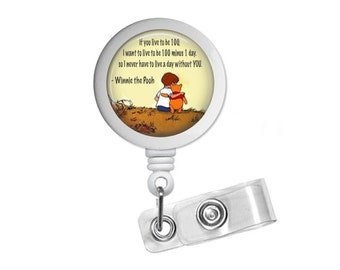 Winnie The Pooh Quote Photo Glass / Bottle Cap Retractable ID Badge Reel