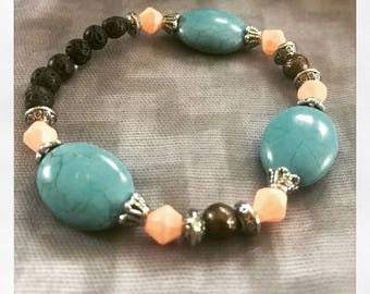 Natural Lava Stone Aromatherapy Essential Oil Diffuser Bracelet Turquoise, Copper and Coral