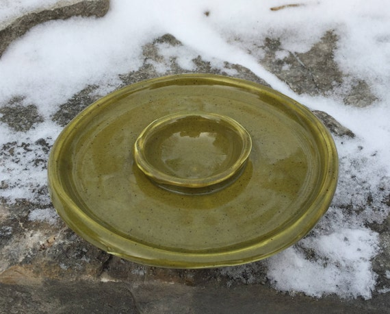 ceramic margarita salt rimmer in olive green