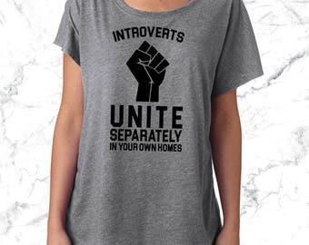 Introverts Unite Separately In Your Homes Tank or Shirt. Funny Shirt. Fitness Tank Yoga Tank Yoga Top Workout Tank Workout Top