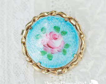 Romantic vintage guilloche hand-painted pink rose brooch