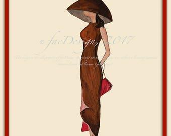 Vintage '57, Watercolor Fashion Illustration