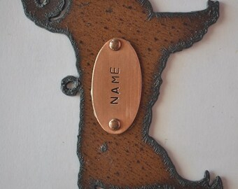GOLDEN RETRIEVER made of Rustic Rusty Rusted Recycled Metal Custom PERSONALIZED Hand Stamped Golden Retriever Ornament or Magnet