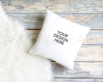 White Pillow Mockup / White Pillow Mockup on Wood Background /Product Background
