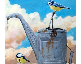 BIRDS & Vintage Watering Can print from my original realistic Wildlife painting