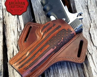 1911 Leather Battle Worn American Flag Holster with Combat Cut Draw, American Flag