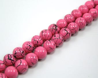 Set of 25 N 8 mm colour drawbench glass beads pink
